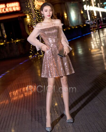 2019 Fit And Flare Long Sleeved Sequin Short Christmas Dresses Cocktail Dresses Customizable Semi Formal Dress Rose Gold Off The Shoulder