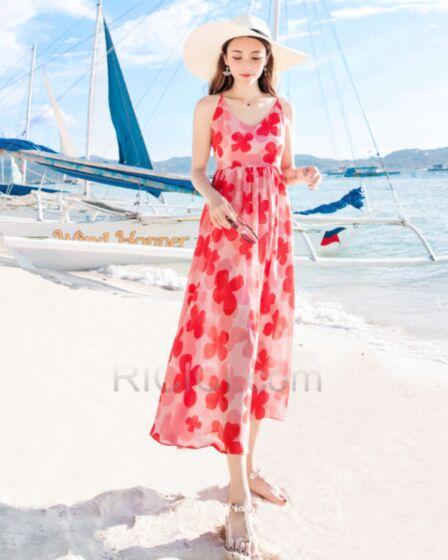 Bohemian Slip Dress Summer Beach Dress Printed Spaghetti Strap Empire Red Long Sundress