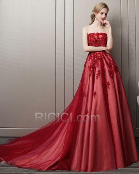 Prom Dresses Summer Burgundy Bandeau Evening Dresses Tulle Long