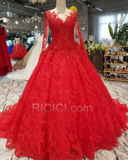 Appliques Red Transparent Wedding Dresses Long Elegant Plunge Lace Ball Gown Long Sleeved