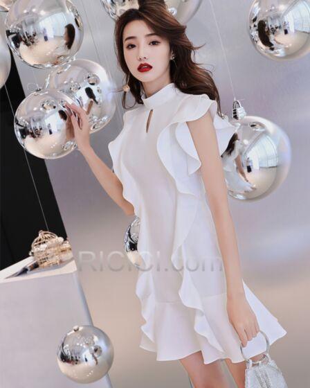 Sheath White Choker Neck Simple Hollow Out Short Cocktail Dresses