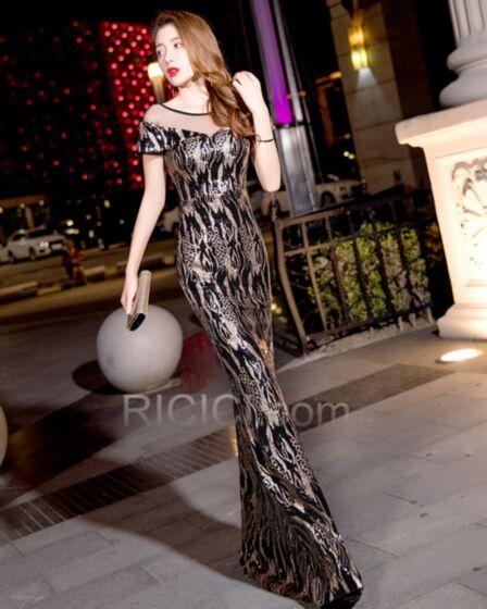 Open Back Sheath For Teens Peplum Sequin Long Black Elegant Sparkly Formal Evening Dress
