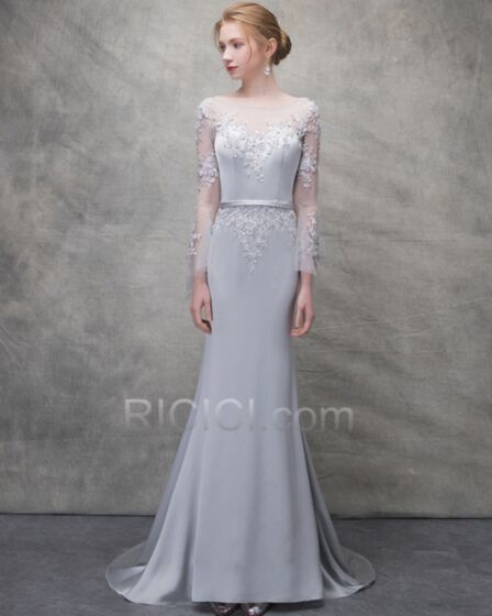Appliques Long Long Sleeve Summer Lace Sheath Open Back Evening Dress Charming With Train Graduation Dress