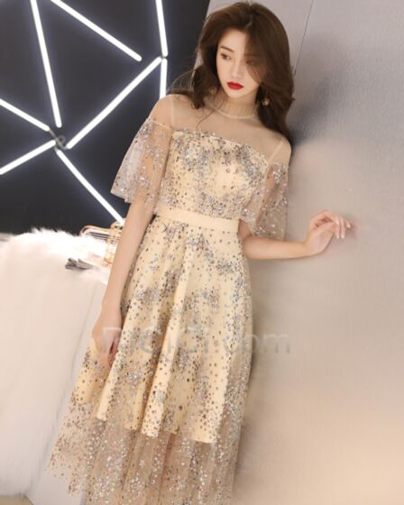 Empire Knee Length See Through Backless Sparkly Juniors Tulle Boho Glitter Cocktail Dresses