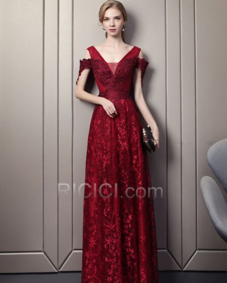 Spring Empire Summer Long Charming Evening Dresses Backless Plunge Lace