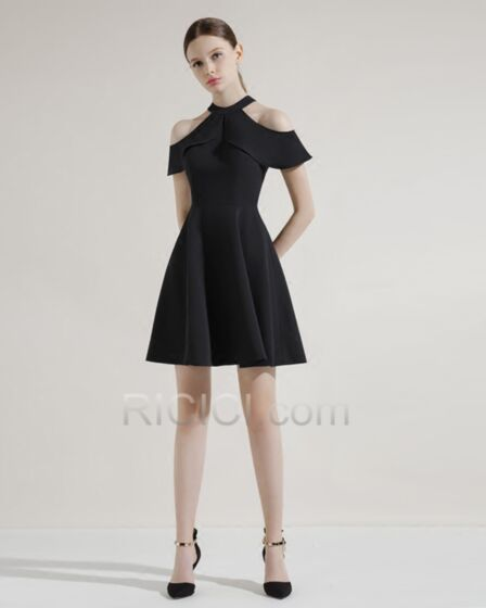 Ruffle Simple Fit And Flare Cocktail Dress 2018 Scoop Neck Short Black Choker Neck