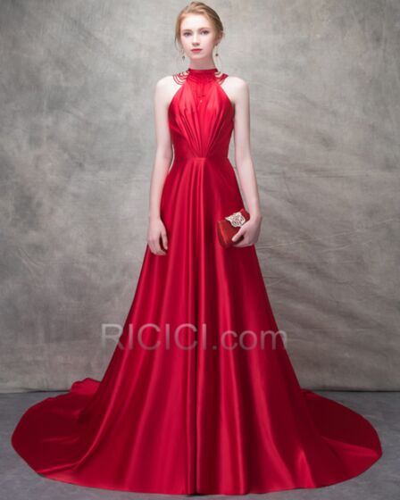 Prom Dresses Sleeveless Evening Dress Elegant Halter Satin Princess Red Pleated