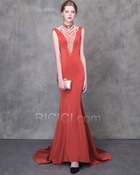 Long Sheath Beading 2018 Beautiful Tulle Charmeuse Formal Dresses Sexy See Through
