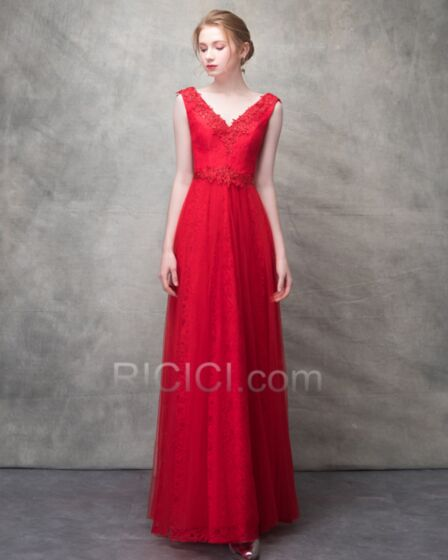 Simple Long Elegant Red Backless Formal Dresses Empire Lace