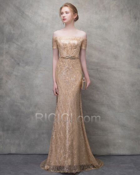 Glitter Off The Shoulder Backless Long Gold Short Sleeve Evening Dresses With Train Sheath