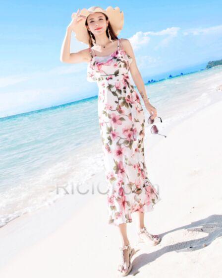 Backless Colorful Dresses Spaghetti Strap Long Sheath Sleeveless Chiffon Summer Beachwear Ruffle