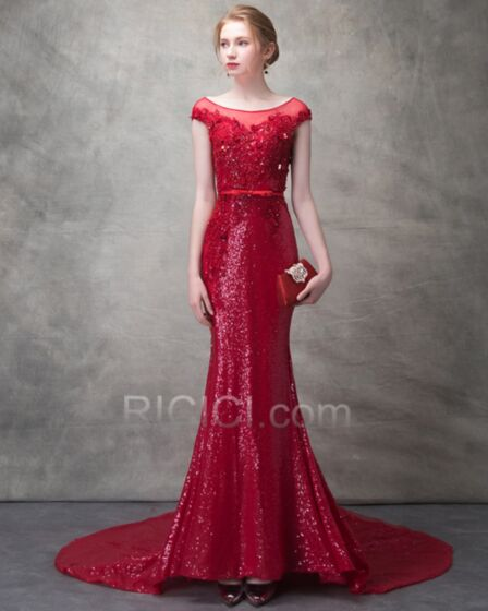 Beaded Long 2018 Mermaid Formal Evening Dresses Sparkly Sequin Luxury Red Summer