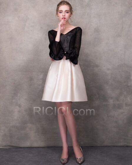 Long Sleeve Lace Sexy Cocktail Dress Short Organza Graduation Dresses Open Back Flounce Bell Sleeve Beautiful