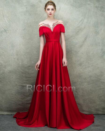 Princess Long Off The Shoulder Low Cut Elegant Prom Dress Red 2018 Backless Evening Dresses Empire Engagement Dresses Short Sleeve Satin