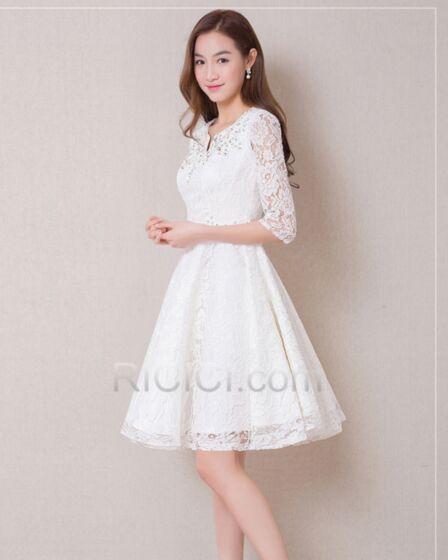 White Cocktail Dresses Princess Lace Cute Graduation Dresses Mini