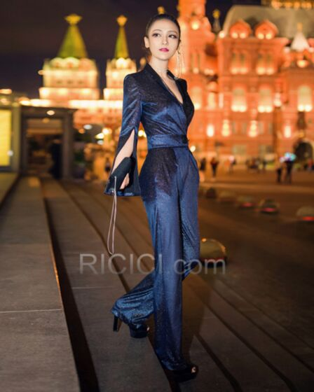 Going Out Bell Sleeve Work Office Shift Dark Blue Long Sleeved Sparkly Wrap Jumpsuits