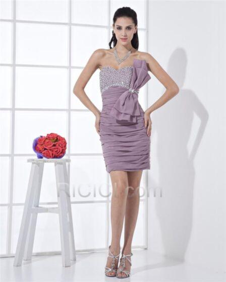 Lavender Chiffon Dress For Wedding Cocktail Dress Sheath Bandeau Pleated Short