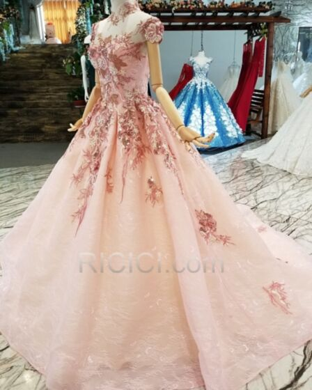 Princess Appliques Prom Dresses 2019 High Neck Blush Pink Elegant Long Open Back Lace See Through Quinceanera Dress
