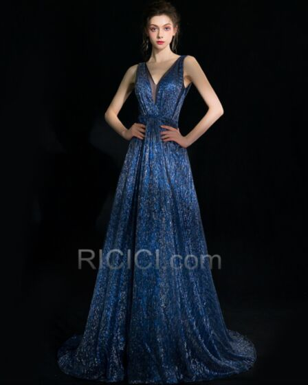 Formal Evening Dress Low Cut Gorgeous Navy Blue Prom Dresses Long Sparkly Sequin