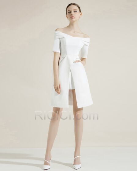 Charming Satin Peplum Cocktail Dress Graduation Dress Juniors Flounce Short Half Sleeve Simple Spring White