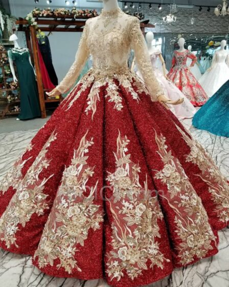 Lace Long Sleeves See Through Quinceanera Dresses Sequin Embroidered Ball Gowns Sparkly Beaded Sweet 16 Dress Prom Dresses Luxury Red