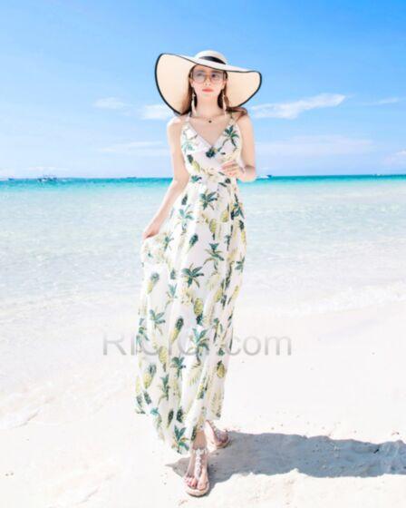 Printed Long Chiffon Summer Beachwear Open Back Dress Wrap Bohemian