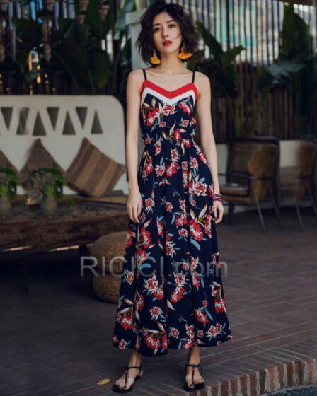 Dresses Summer Slip Dress Going Out Swing Bohemian Open Back Navy Blue V Neck Long