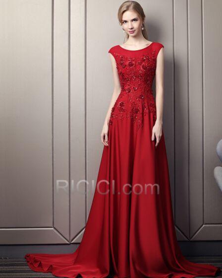 Charmeuse Evening Dresses Red Maxi Sleeveless Prom Dress Open Back Beading Empire