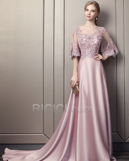 Blush Pink Long Princess Juniors Prom Dress Beautiful Summer Sweet 16 Dresses 2018 Open Back Half Sleeve With Train Evening Dresses Lace Appliques