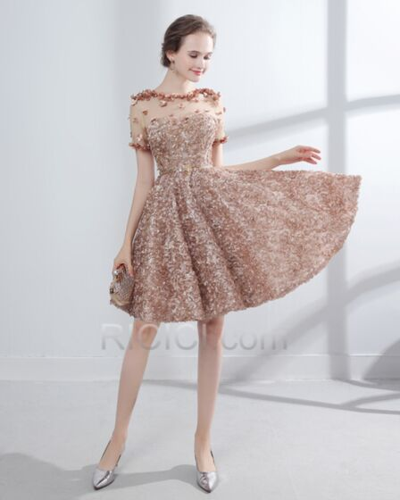 Tulle Cute Cocktail Dresses Fit And Flare Appliques Transparent Party Gowns Sweet 16 Dress Summer Bohemian Knee Length