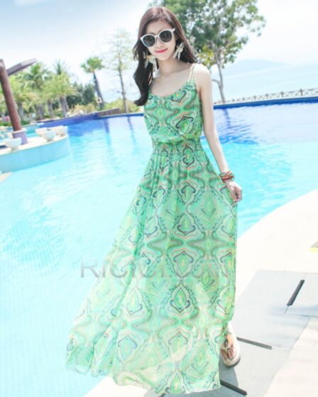 Spaghetti Strap Beach Dress Bohemian Swing Dresses Chiffon Day Dresses Summer Mint Green