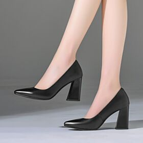 Black Pumps 9 cm High Heel Work Shoes Summer Womens Shoes Classic Chunky Heel