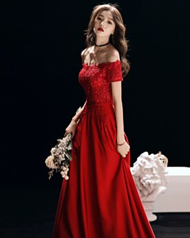 Bridesmaid Dress Off The Shoulder Lace Party Dress Formal Evening Dresses Long Chiffon Spring
