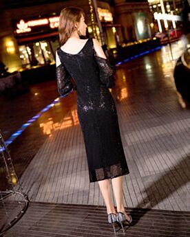 Vestidos Coctel Ajustados De Lentejuelas Escote V Negro Debajo De La Rodilla Brillantes
