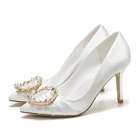 Chaussure Mariée Blanche 2019 Avec Strass Talon Mid Chaussure Demoiselle D honneur Talons Aiguilles Élégant Avec Perle Escarpins