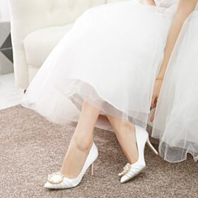 7 cm Tacco Medio Tacco A Spillo Bianche Scarpe Da Sposa Estivi Decolte Primavera Di Raso A Punta