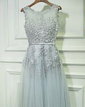 2019 Wedding Guest Dresses Boho Beautiful Bridesmaid Dress Lace Beading Silver Evening Dresses Long