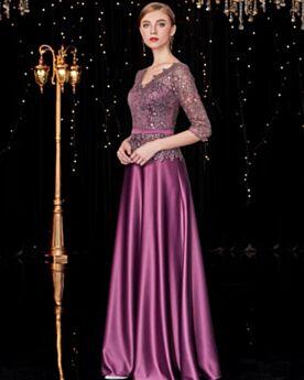 Sparkly Long Lace Half Sleeve Satin 2019 Formal Evening Dresses Princess Prom Dress