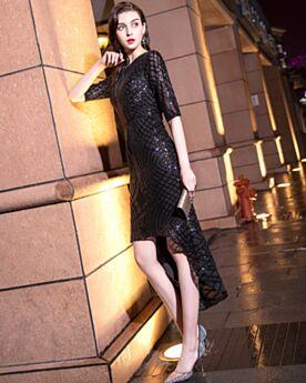 Brillantes Entallados Negros Vestidos Coctel