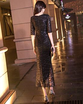 Cocktail Party Dress High Low Semi Formal Dress Black 2019 Sparkly Sheath Sequin
