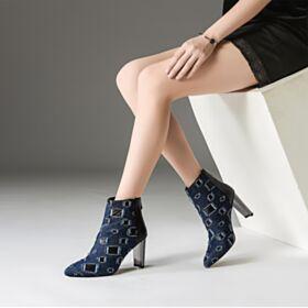 Denim 8 cm Hoge Hakken Navyblauwe Gevoerde Ripped Schoenen Enkellaarsjes Blokhakken