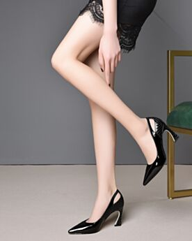 3 inch High Heel Pointed Toe Leather Classic Pumps Stiletto Black