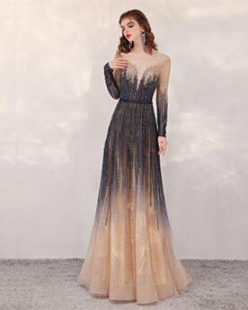 Tulle Décolleté Dos Nu Longue Manche Longue Dégradée Luxe Paillette Robe De Bal Brillante Princesse