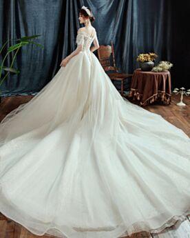 Con Strascico Vestiti Da Sposa Avorio Scollo A Cuore Glitter Scollo A Barca