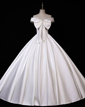Robes De Mariée Vintage Dos Nu Blanche Epaule Dénudée Princesse Longue Manche Courte Élégant