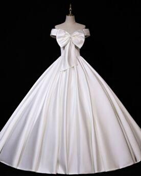 Schlichte Vintage Off Shoulder Perlen Weiss Satin Brautkleid Rückenfreies