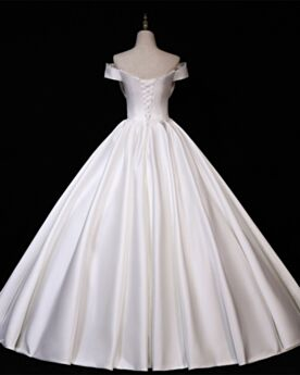 Long White Simple Satin With Bowknot A Line Bridals Wedding Dress Off The Shoulder Vintage
