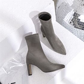 Fur Lined 9 cm Chelsea Booties Gray Stiletto High Heels Boots