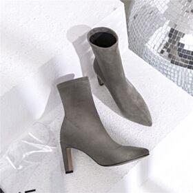 Stiletto Laarzen Gevoerde Chelsea Boots Hoge Hakken Suede Enkellaarsjes