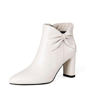 Middelhoge Hakken Winter Runtige Neus Zakelijke Laarzen Hakken Gevoerde Enkellaarsjes Chelsea Boots Witte Blokhakken Klassiek